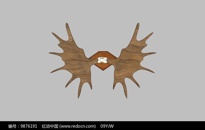 木质翅膀壁挂SU图片
