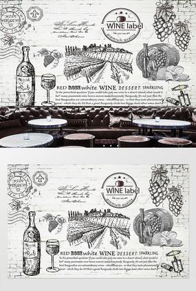 葡萄酒红酒酒庄木板背景墙