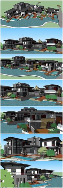 日式风格整体别墅建筑SU模型