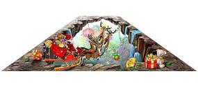 圣诞公公送礼圣诞节3D立体画