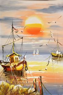 手绘日出帆船无框画