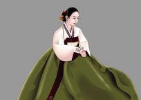 鼠绘朝族美女插画设计