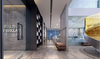 现代办公室十八层装饰连廊