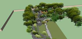 中式庭院景观SU模型