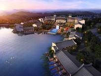 滨水中式酒店鸟瞰