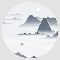 中式聚宝盆壁画家居水墨画 PSD