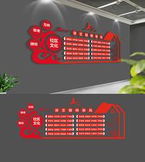 红色社区文化墙设计