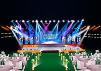 婚礼舞台效果图(舞台背景幕布不可编辑) PSD