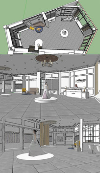 婚纱店室内SU草图模型