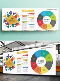 简约企业公司文化墙展板