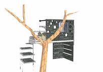 现代阁楼树屋