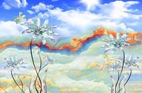 3D蓝天白云手绘花朵背景墙