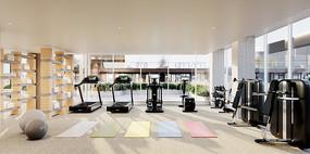 国外简约家庭式酒店健身房