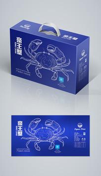 蓝色帝王蟹海鲜礼盒海鲜包装 AI