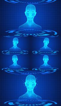 蓝色科技3D人头AE模板