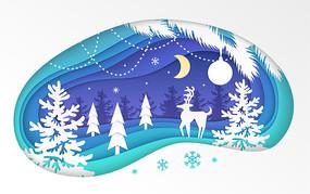 圣诞下雪冬天新年插画