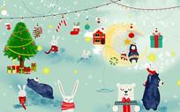 手绘卡通儿童房圣诞节背景墙