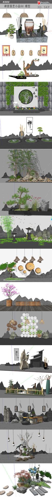 新中式景观小品模型