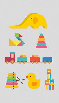 幼儿扁平玩具插图