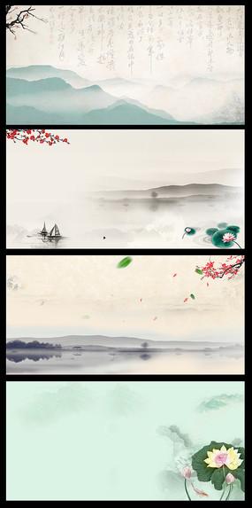 中國風水墨海報背景 PSD