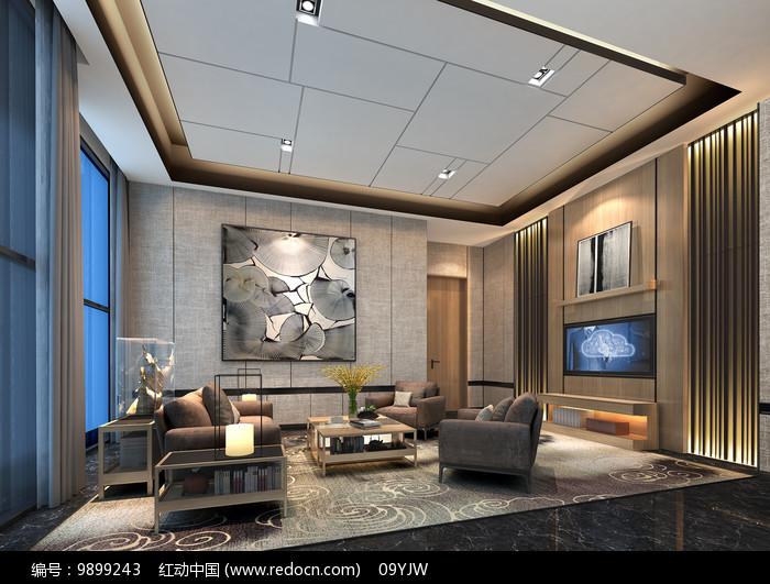 中式售楼处VIP接待区效果图片