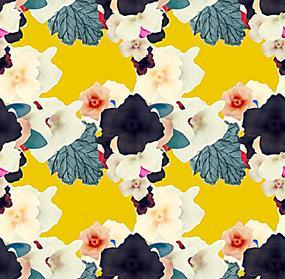 方形编织花枝黄色背景图