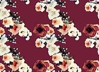 复古美丽花朵油画深色背景