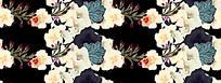 黑底复古花朵油画背景