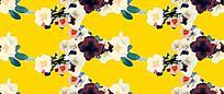 黄底手绘花朵油画背景