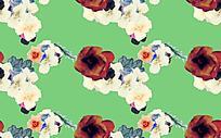 绿色背景手绘花朵背景素材