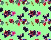 浅绿色底艳丽花卉油画背景图