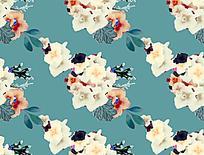 青色印花背景素材