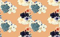 清新花朵暖色油画背景素材