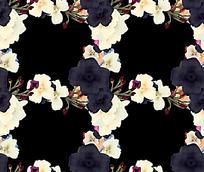 手绘复古花朵黑色背景素材