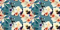 手绘花朵枝叶蓝色背景图
