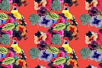 水彩红底鲜花图片