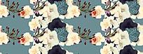 油画风格花朵横排蓝色背景
