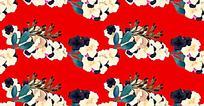 油画风格花朵中国红背景