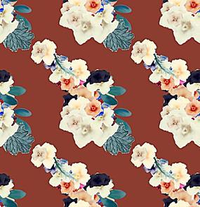 阵列分布手绘花朵背景图