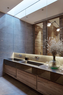 日式方块会所洗手台区