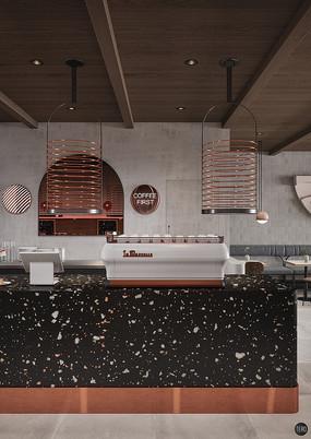 水磨石创意咖啡厅前台