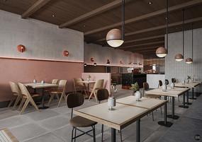 水磨石创意咖啡厅用餐区
