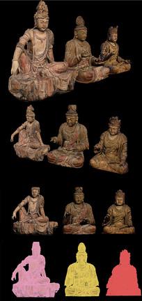 3dmax模型3个古旧佛像