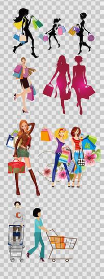 卡通购物美女元素