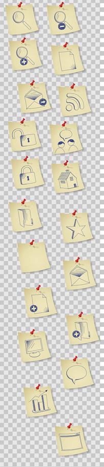 便签纸系列图标设计素材