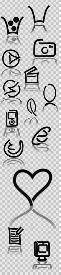 创意图标集黑色线条设计素材 PSD