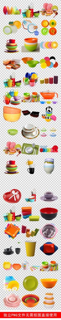 厨卫彩色塑料餐具彩色杯子素材