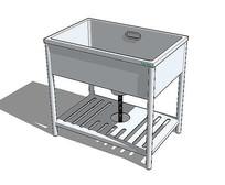 方形洗菜池模型 skp