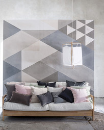 菱形图案客厅背景墙和沙发抱枕