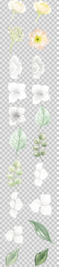 唯美森系手绘白色花瓣